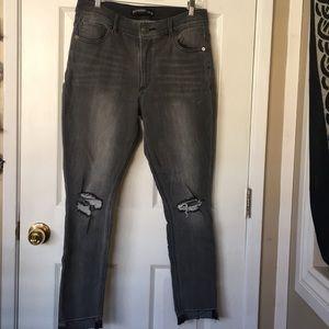 High waisted grey jeans